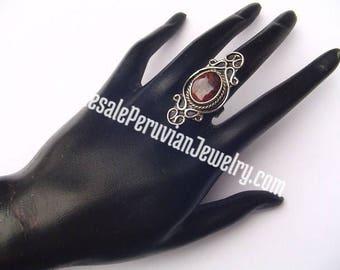 Ethnic Brown Tiger's Eye Alpaca Silver Ring Peruvian Jewelry - Handmade in Peru