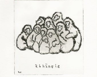 Original Etching print, hand made, Art, limitted edition, monkey, abhängig - depending