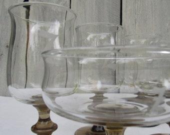 Z monogram glassware, smokey brown wine glasses & parfait glasses, set of 8, wedding gift,  Z initial, Libbey glassware, Z barware