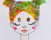 Space haired girl - galaxy hair - rainbow hair - colorful hair - weird girl - Halloween - Drawing - Inktober - Sketch
