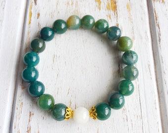 Balance the Mind, Moonstone, Moss Agate, Healing Jewelry, Intention Bracelet, Yoga Jewelry, Mala Beads