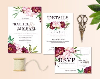 Floral Peony in Blush and Vineyard Wedding Invitation Set with RSVP Postcard and Details Card