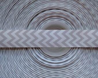"GREY & WHITE CHEVRON 7/8"" 22mm Grosgrain Hair Bow Craft Ribbon 1546"