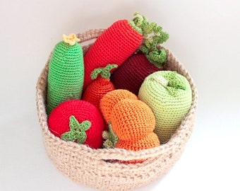 Crochet 7 Vegetables in Basket, Grocery Store Play, Stuffed Play Food, Vegetable, Summer Kitchen Decoratio, Waldorf Toy, Housewarming Gift