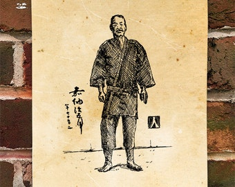 KillerBeeMoto: Limited Hand Drawn Print of Judo Founder Kano Jigoro Hand Drawn Sketch