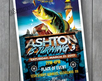 Fishing Birthday Invitation - Gone Fishing Birthday Invitation - Fishing First Birthday Invitation