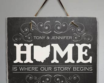 Personalized Home State Slate Welcome Sign, Porch Sign, Wall Hanging