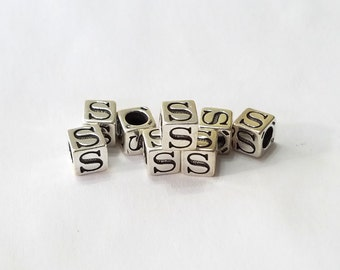 Sterling Silver, Alphabet, Letter, LETTER S, Bead, Alpha, Clearance, Sale, Jewelry, Beading, Supply, Supplies