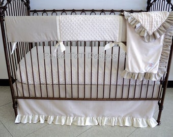 Gender Neutral Linen Natural Bumperless Baby Bedding : Presley