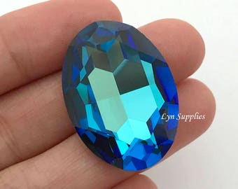 4127 BERMUDA BLUE 30x22mm Swarovski Crystal Oval Fancy Stone No Hole (Rare)