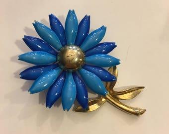 Vintage blue and gold enamel flower pin