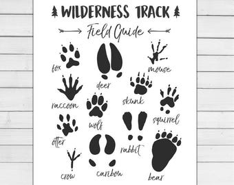 Animal Track Field Guide Woodland Nursery Woodland wall decal Wilderness Nursery decor Wildlife White black Digital PRINTABLE download 8x10
