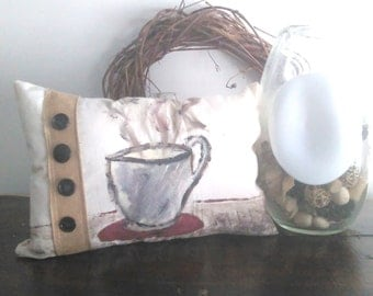 Kitchen Pillow, Coffee Pillow, Coffee, Painted Coffee, Painted Mug, Mug Pillow, Pillow, Accent Pillow, Painted Pillow,