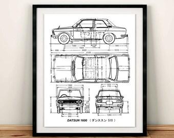 """Datsun 1600 Blueprint, Datsun 510, Blueprint Art, Blueprints, Garage Art, Printable Automotive Decor, Instant Download, Datsun, 8x10, 14x11"""""""