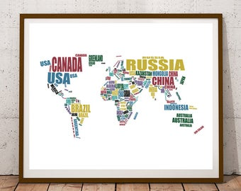 Map of the World, Printable World Map, World Map Art, Instant Download, Map of the World Country Names, Typography Map, 8x10, 14x11, 16x20""