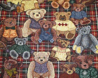 "Vintage Crown Crafts Throw Blanket 54"" x 45"" Teddy Bear Friends Lap Blanket"