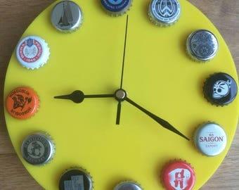 Beer Clock various bottle top caps handmade
