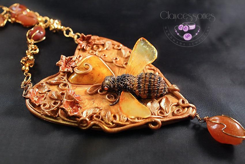 Bee Necklace / Art Nouveau necklace / Quartz earrings / Charm necklace / Quartz necklace / Polymer clay jewelry set