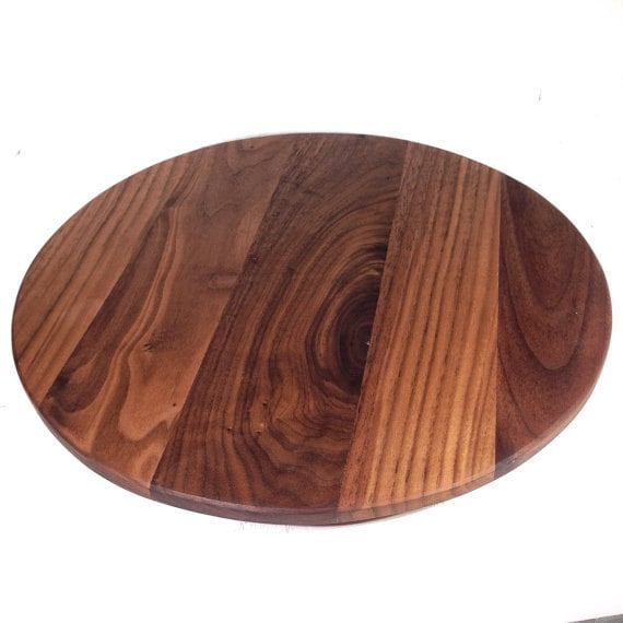items similar to round cutting board 14 walnut wood chopping board serving tray large high. Black Bedroom Furniture Sets. Home Design Ideas