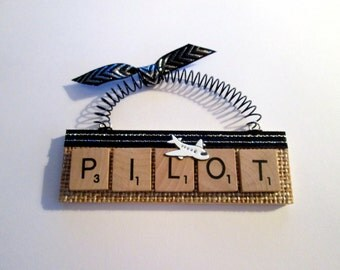 Airline Pilot Airplane Scrabble Tile Ornament