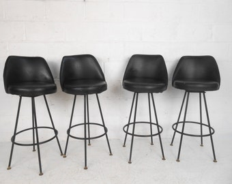 Set of Four Mid-Cenutry Modern Swivel Bar Stools by Admiral (4115)JR