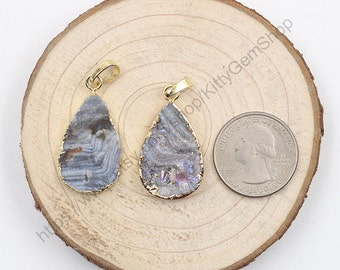 Rough Druzy Pendants -- With Electroplated Gold Edge Druzzy Drusy Geode Charms Wholesale Supplies Handmade YHA-145