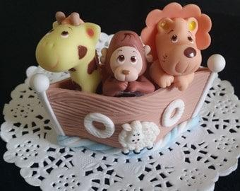 Noahs Ark Baby Shower, Noah's Ark Cake Topper, Noah's Ark Cake, Twins Baby Shower Cake, Animal Ark Cake Topper, Baby Shower, Ark Cake Topper