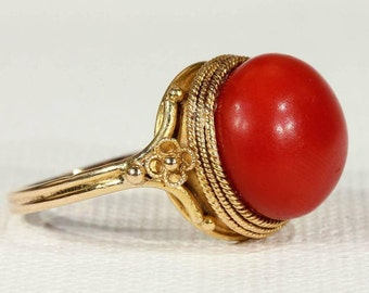 Antique Victorian Etruscan Revival Red Coral Gold Ring