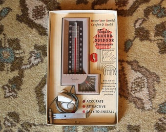 Taylor Indoor/Outdoor Thermometer ~ Vintage ~ 1970s ~ Model #5330 ~ Mounting Instructions and Hardware ~ Rochester, NY