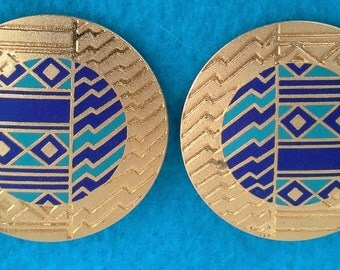 Earrings Laurel Burch clip on, large, Crafted 22KT gold tone, imprinted blue