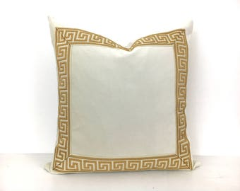 Off-White Pillow Cover with Greek Key Trim - Ivory Velvet PIllow