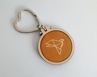 Origami Bird Love Heart Keyring