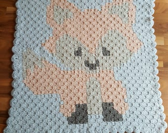 Fox baby blanket super soft 85x80cm!