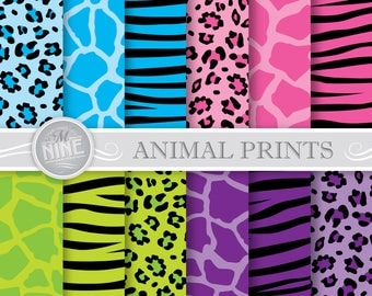 ANIMAL PRINTS Digital Paper | Digital Downloads | Printable Scrapbook Paper | Leopard Print | Zebra Stripes | Giraffe Print