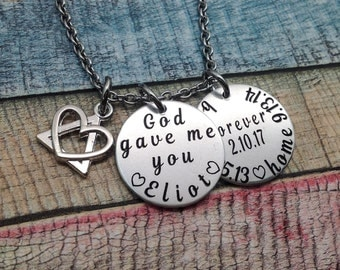 Adoption Gift, Custom Adoption gift, Born Home Forever Jewelry, Adoption day gift, Adoptive Foster Parent, Personalized Mommy Necklace