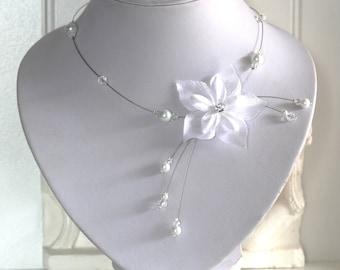 Collier mariée mariage soirée Fleur de satin Necklace wedding evening satin flower  bridal bride