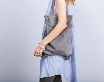 Gray leather shoulder bag,Gray leather bag,Laptop bag,Gray tote bag,Zipper leather bag,Grey leather backpack