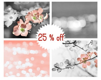 Peach and grey wall art, grey and peach photo prints set of 4 12x12, 11x14, 8x10 pictures, bathroom bedroom girls room modern decor art set