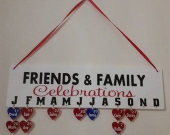 Personalised Family Birthday Board/Calendar/Birthday Plaque/Birthday Reminder/Birthday Calendar/Friends and Family