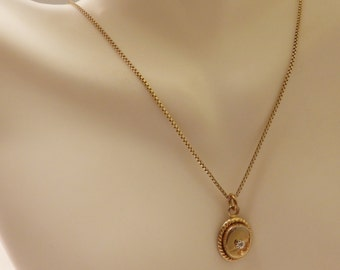 Gold Tone  Over Sterling Silver Vintage Small Diamond Oval Pendant Necklace