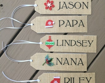 Burlap Christmas Stocking NAME TAG Stocking Personalized Name Rustic Country Shabby Vintage Theme •Made to Order• Christmas Gift
