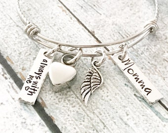 Urn bracelet - Hand stamped bracelet - Loss bracelet - Cremation jewelry - Memorial bracelet - Stainless steel heart - Cremation bracelet