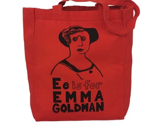 Feminist Tote Bag: E is for Emma Goldman Feminist Screenprint Tote