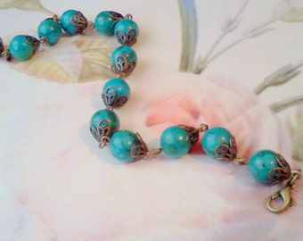 "Magnesite Bracelet, ""Turquoise"" Bracelet, Aqua Blue Bracelet, Energy Bracelet, Handmade Link Bracelet, Magnesite Beaded Bracelet, Healing"