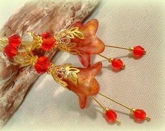 Vintage Style Earrings, Dangle Earrings,  Hand Colored Filigree Earrings, Red Earrings, Red Marblized Earrings, Red & Gold Colored Earrings