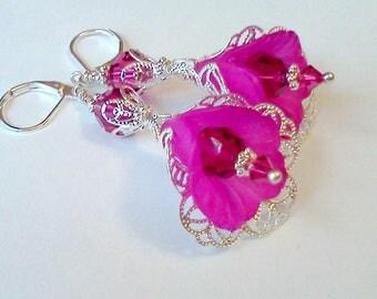 Hand Painted Earrings, Magenta Earrings, Plum Earrings, Lucite Flower Jewelry, Handmade Earrings, Filigree, Burgundy Earrings, Vintage, Boho
