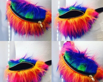 Furry rainbow bumbag fannypack