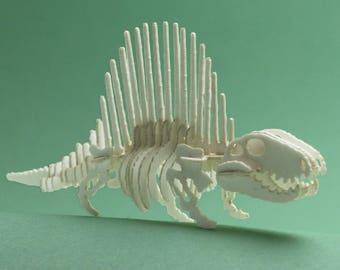 Dimetrodon Tiny Dinosaur Skeleton Bare Bones - Paper Puzzle Sculpture Model