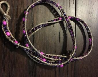 Beaded Wrap Bracelet, Pinks & Purples 18