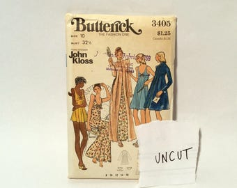 Vintage UNCUT 1970s Butterick 3405 Misses Baby Doll Nightgown and Robe Size 10 by John Kloss Sewing Pattern